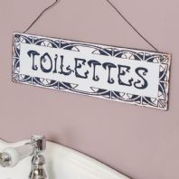 French Vintage Style 'Toilettes' Metal Bathroom Plaque